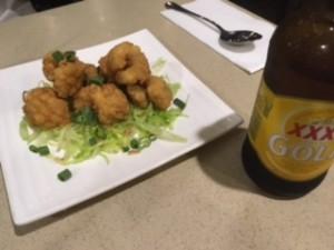 Roti Placeのイカとビール
