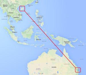 海南島とブリスベンの距離
